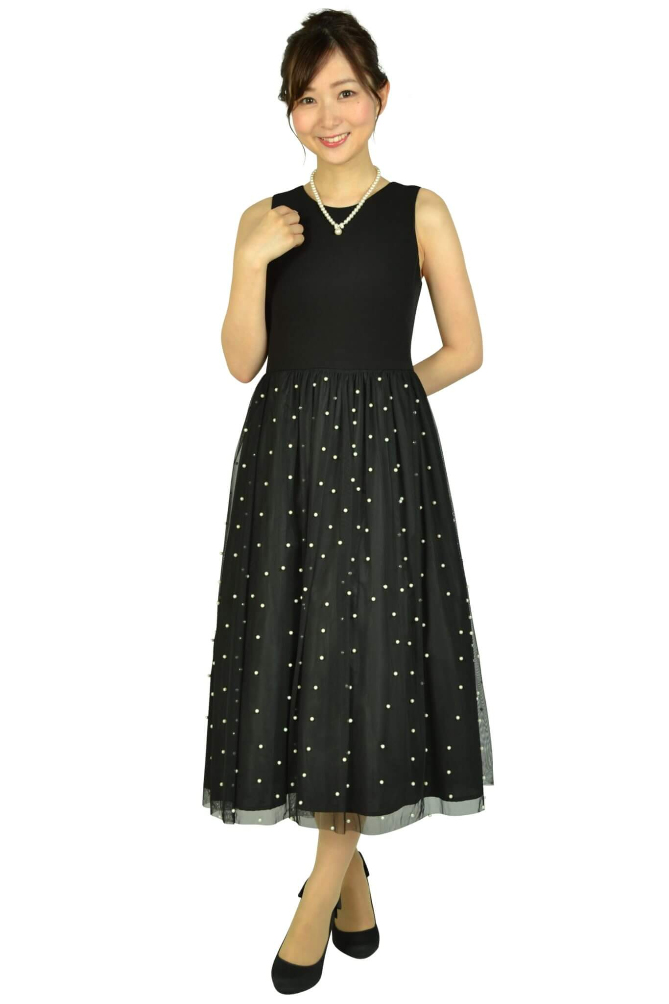 カルバンクライン (Calvin Klein)パールチュールブラックドレス