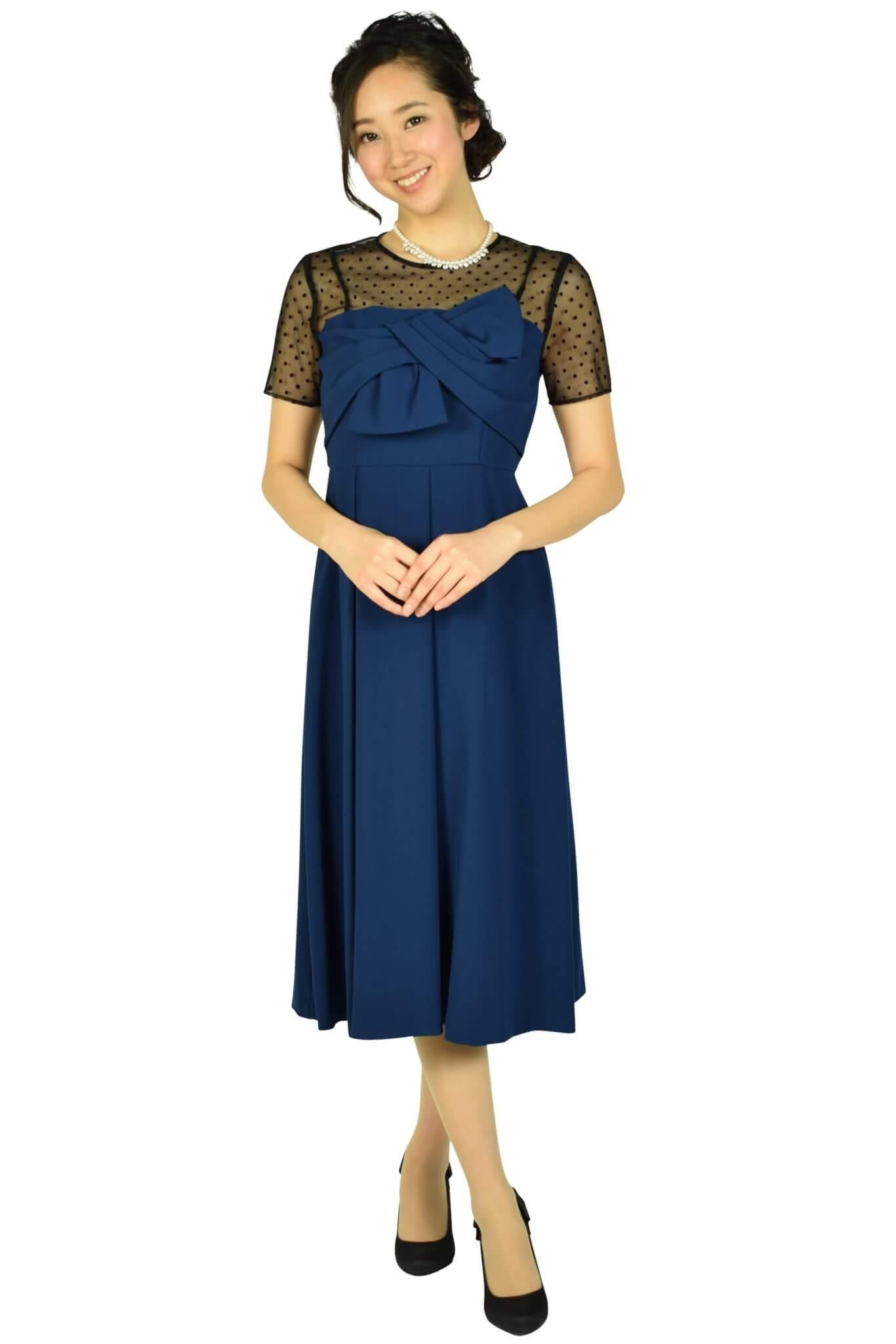グレースコンチネンタル (GRACE CONTINENTAL)袖付きドットレースネイビードレス