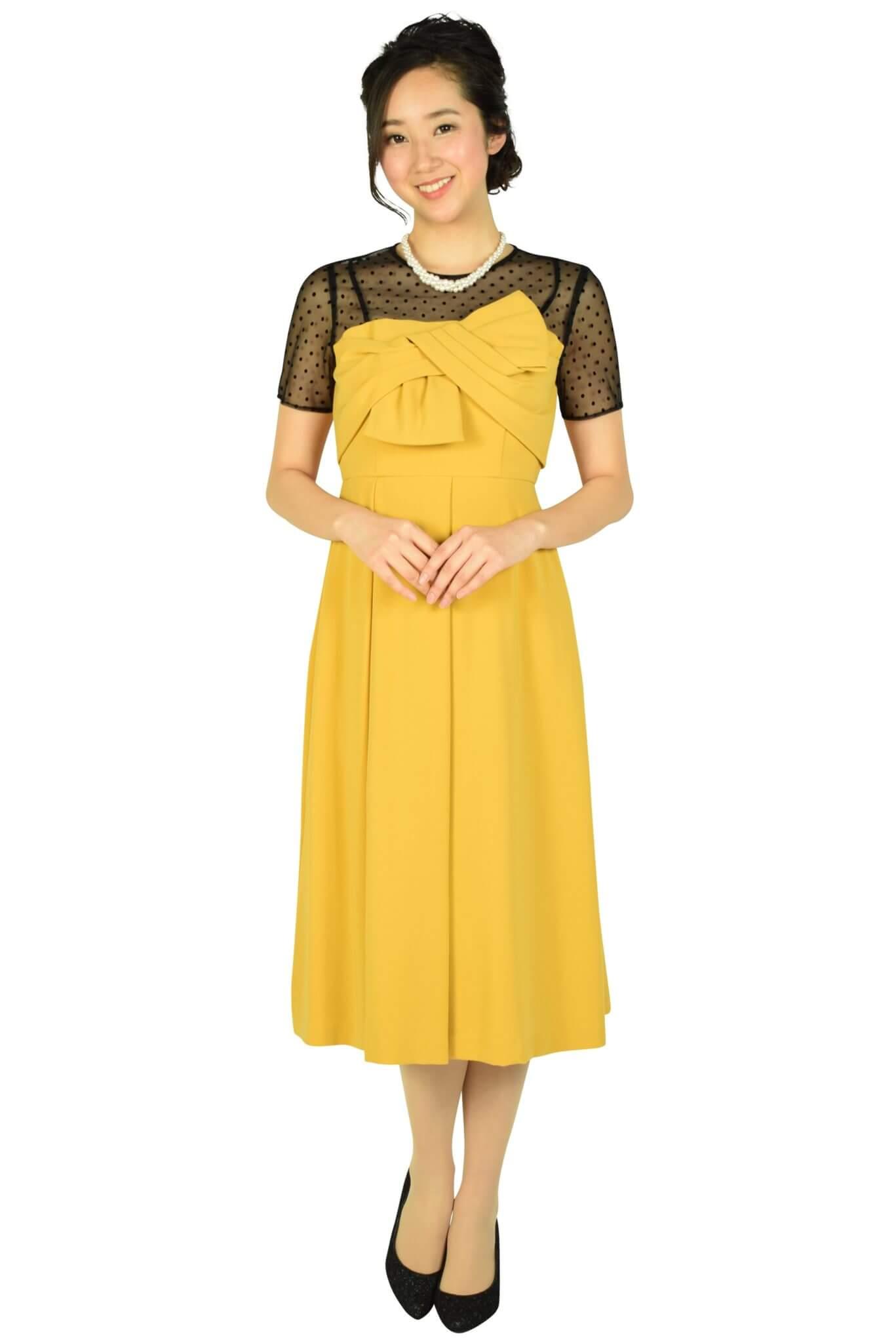 グレースコンチネンタル (GRACE CONTINENTAL)袖付きドットレースマスタードドレス