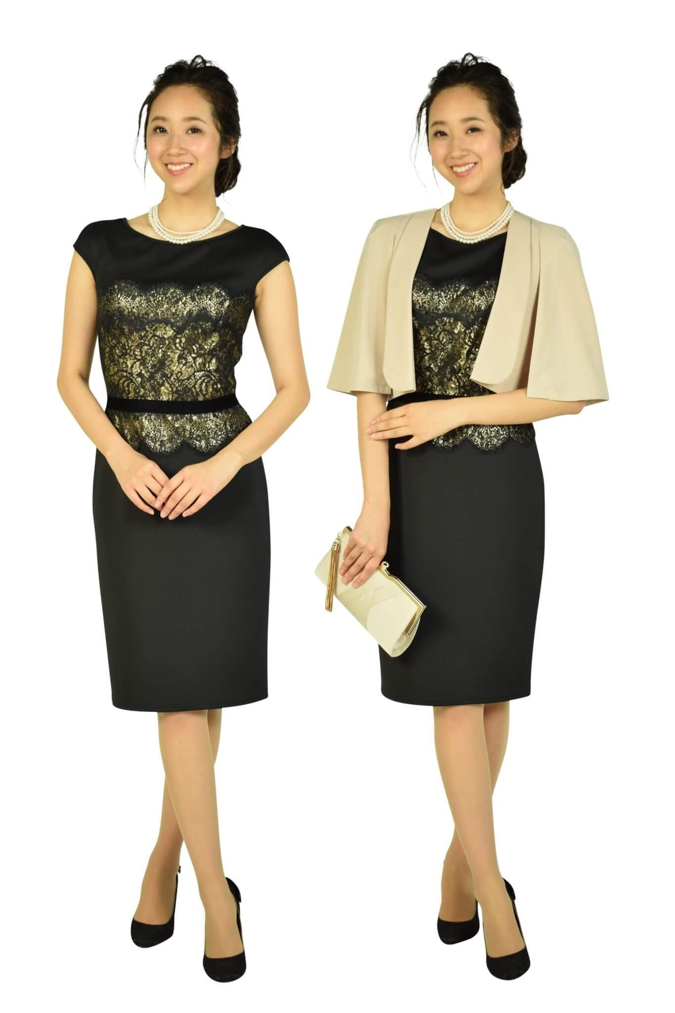 タダシ・ショージ (Tadashi Shoji)エレガントブラック×ゴールドタイトドレス