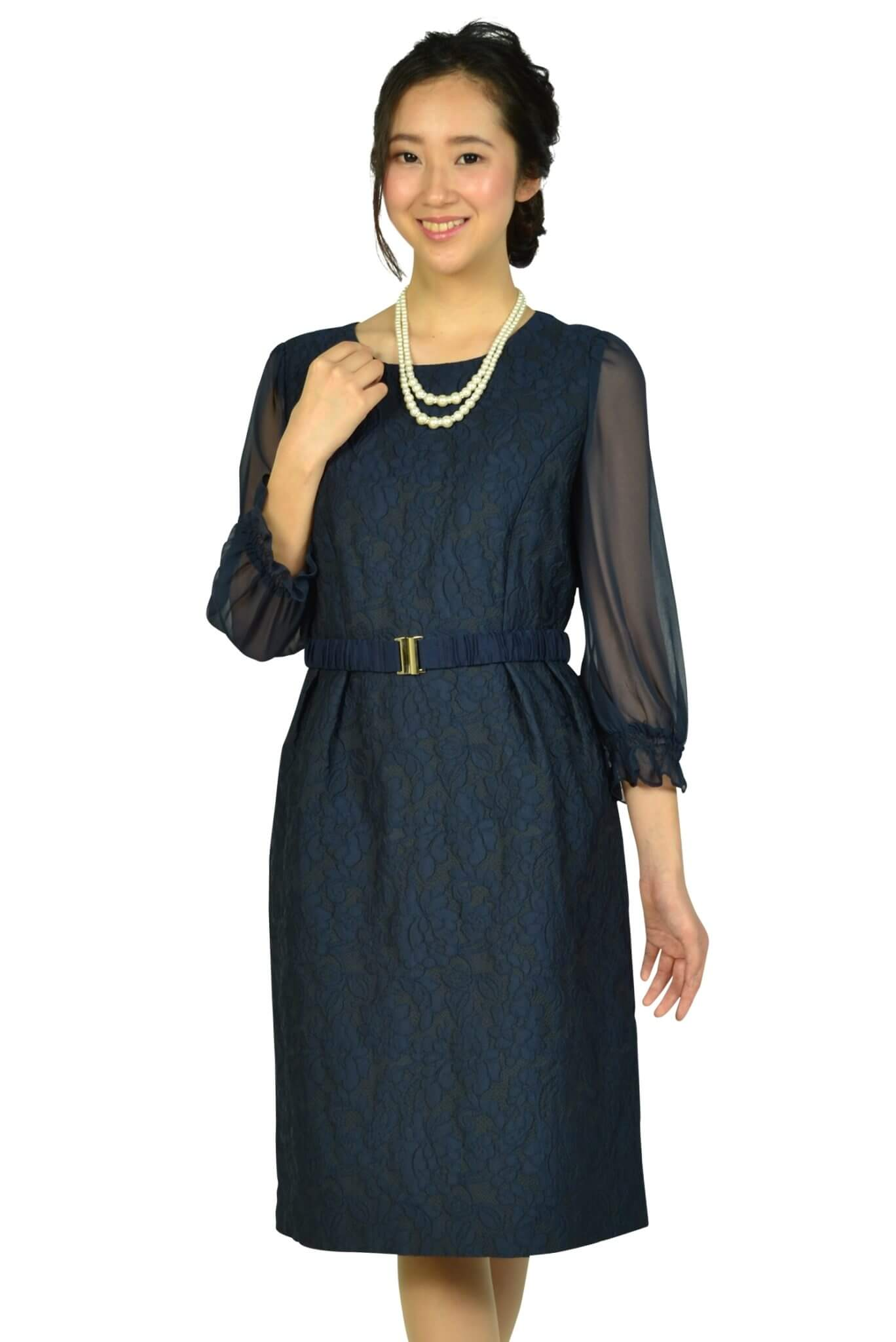 クミキョクプリエ (組曲プリエ)シフォン袖ネイビーレースドレス