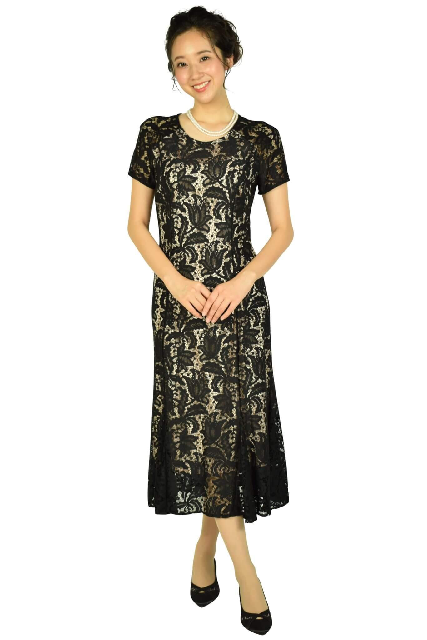 ローマン (ROMAN)フラワーモチーフレースブラックドレス