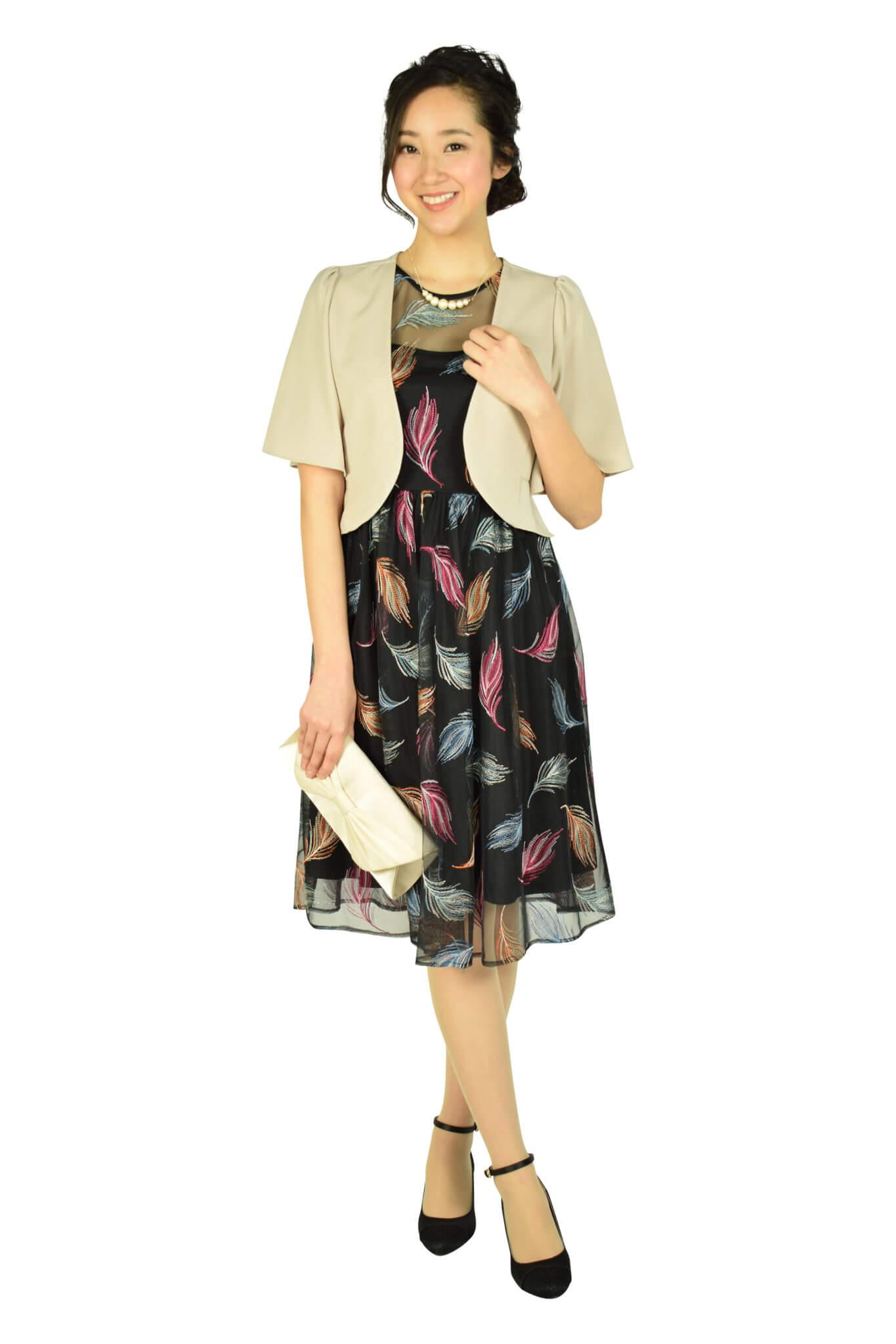 カルバンクライン (Calvin Klein)マルチ羽刺繍ブラックドレス