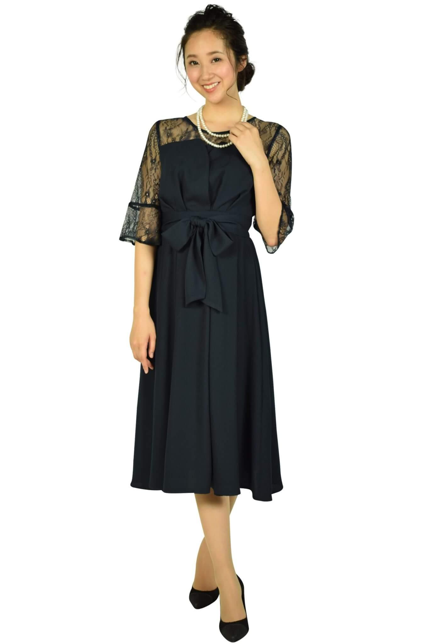 ビヲミナ (VIWOMINA)上品6分袖レースミディ丈ネイビードレス