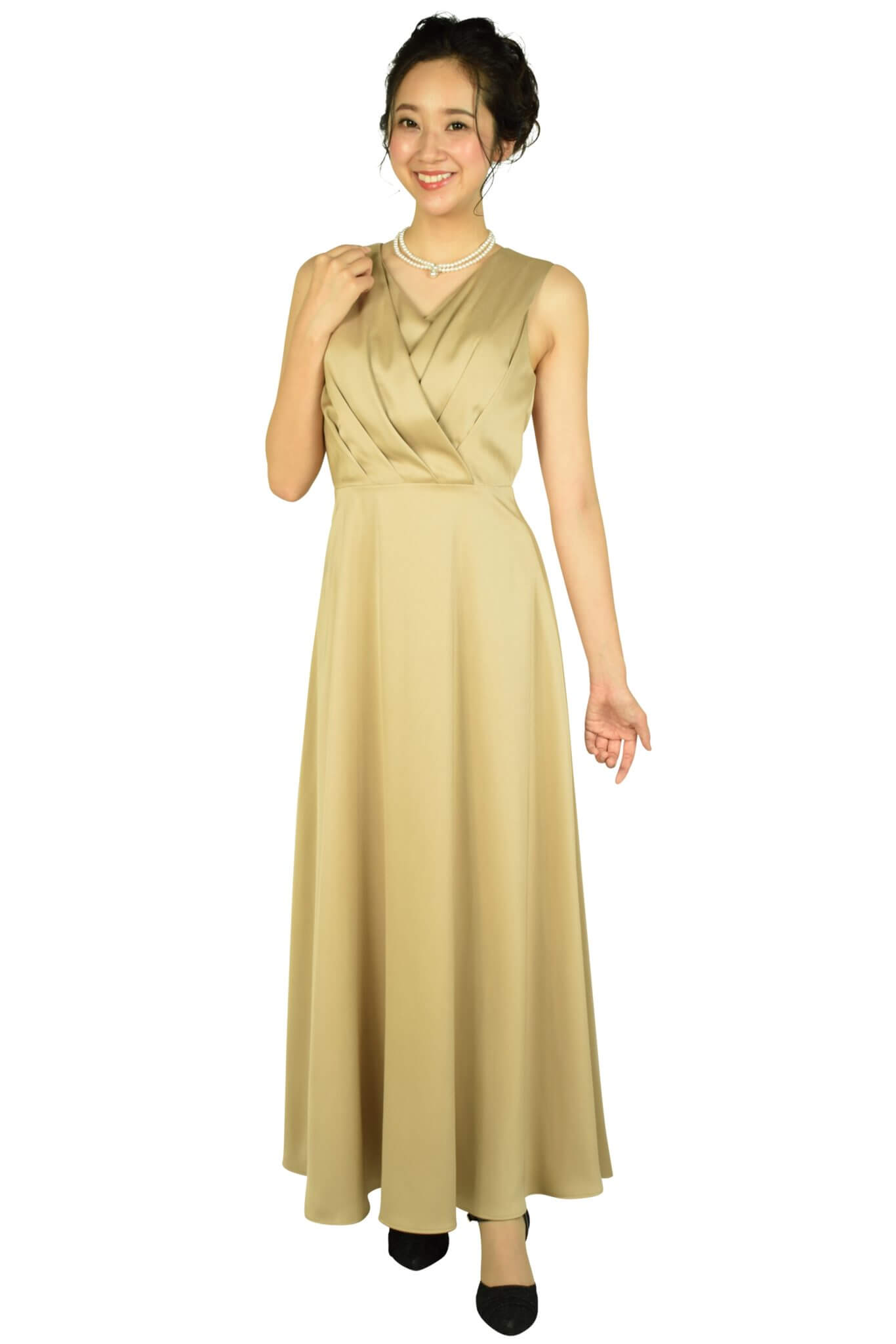 エルモソ リュクス (Hermoso luxe)カシュクールベージュロングドレス