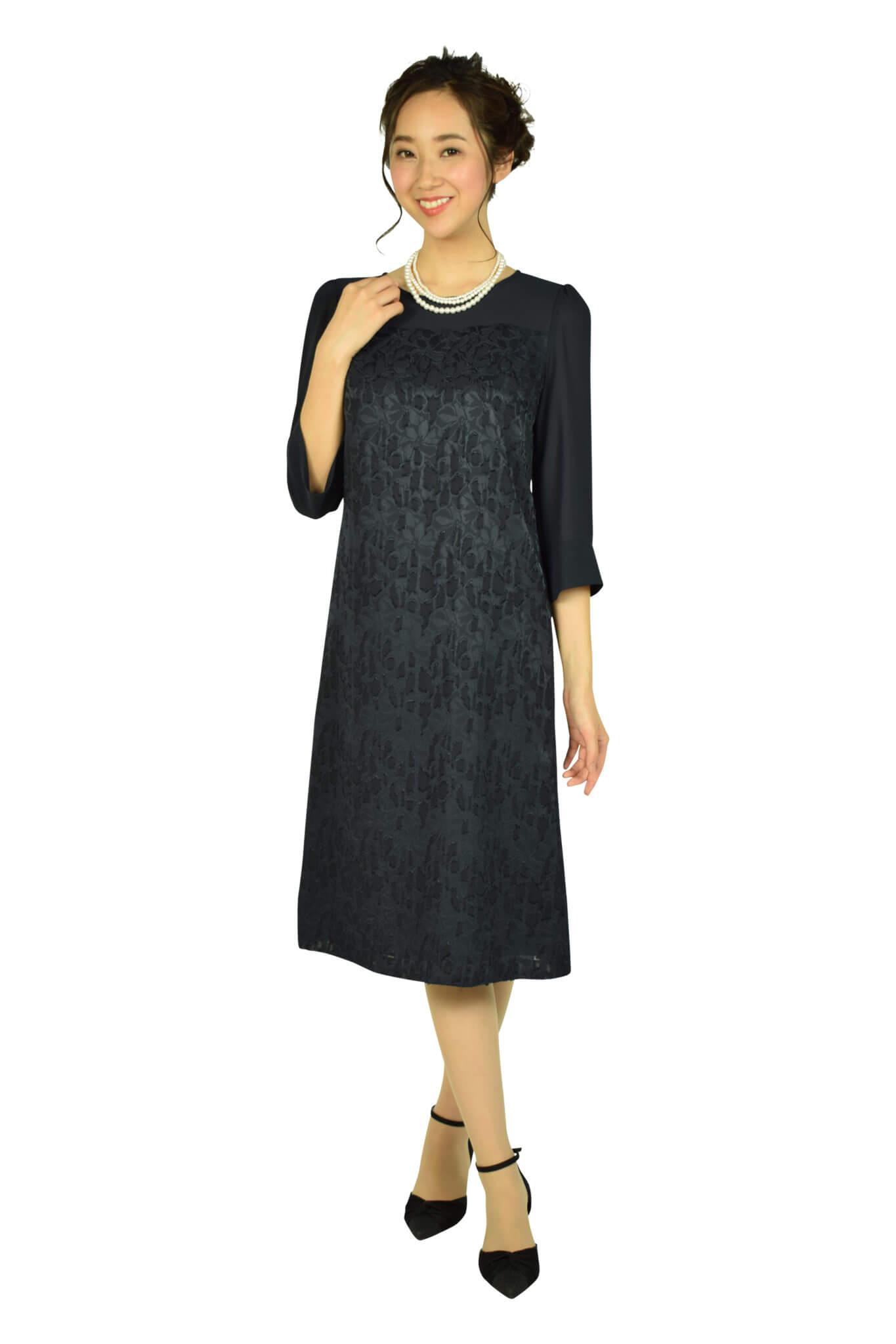 ドレス デコ(DRESS DECO) 上品フロッキーフラワーネイビードレス