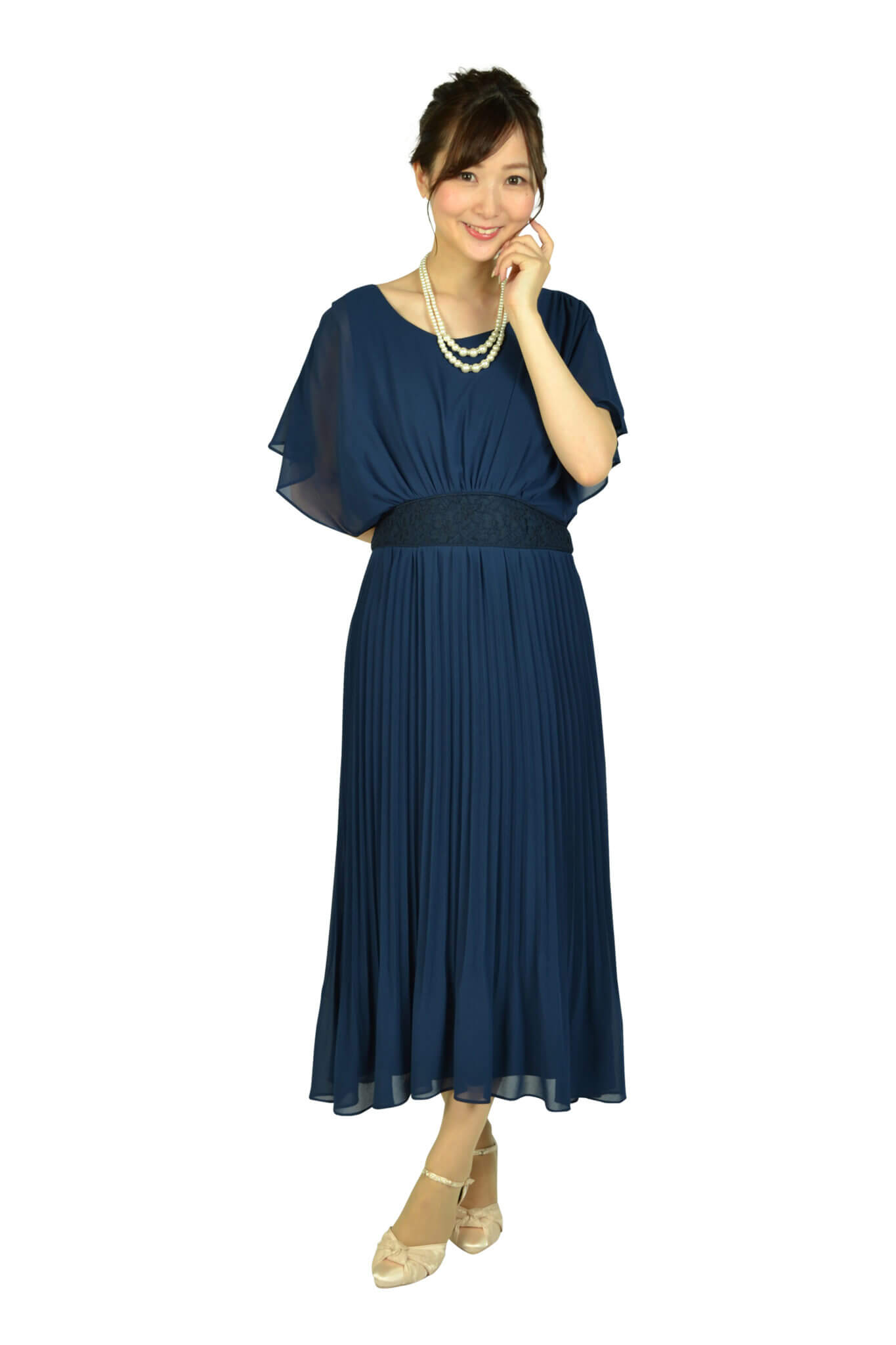 ルチェア (Luceat)プリーツミディネイビードレス