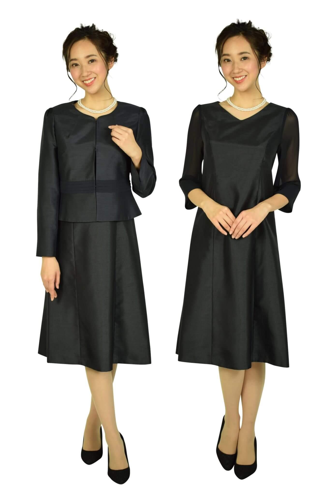 ドレス デコ (DRESS DECO)上品シャンタンセレモニーネイビードレスセット
