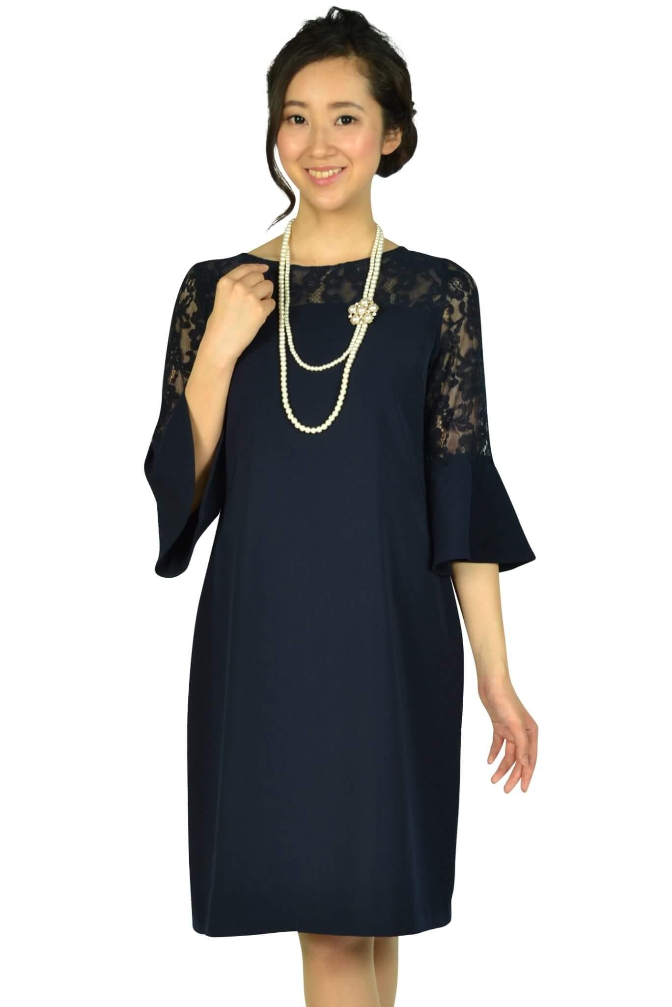 エルモソ リュクス (Hermoso luxe)異素材ベル袖ネイビードレス