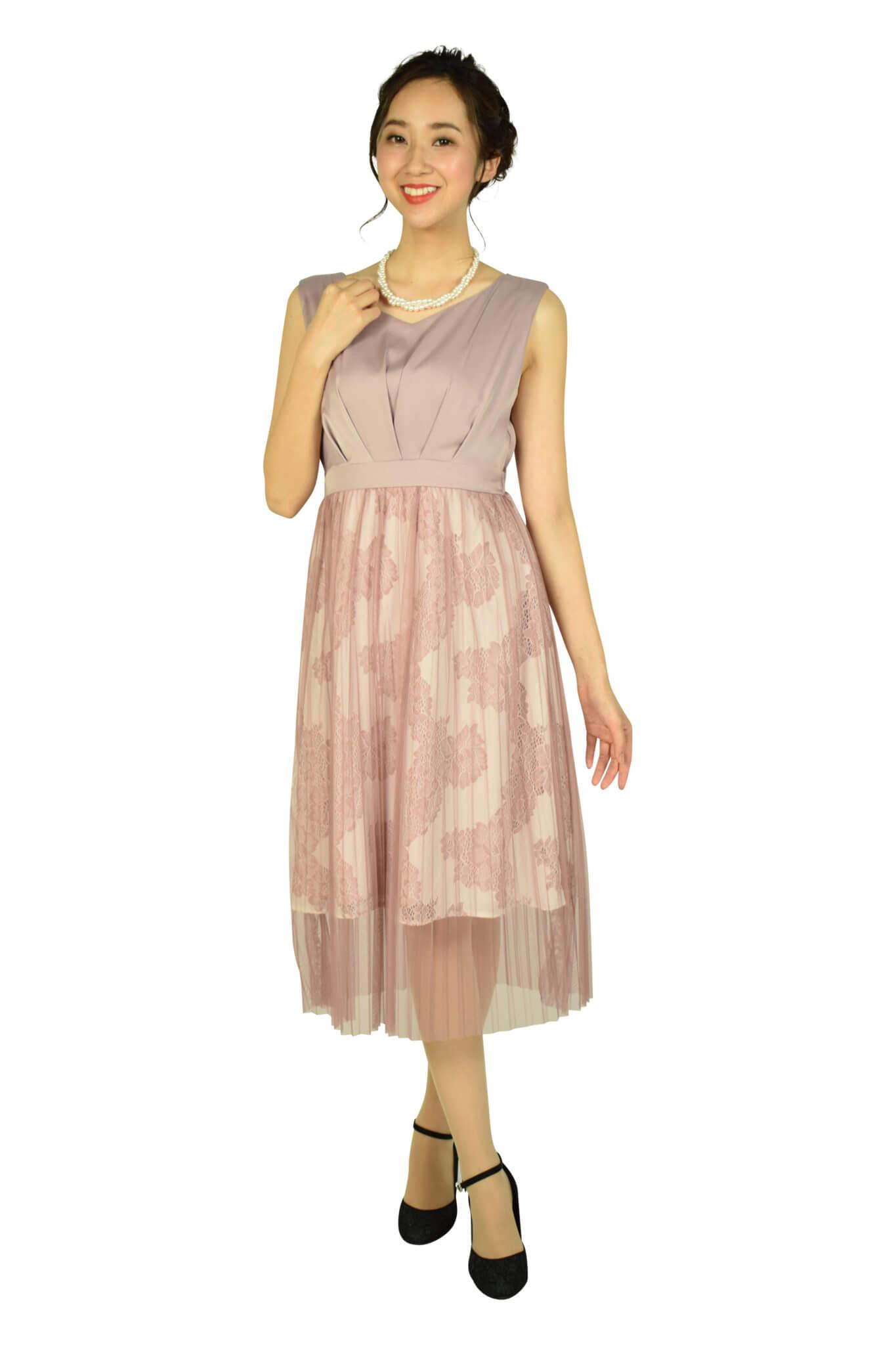 アグレアーブル (Agreable)プリーツチュールピンクドレス