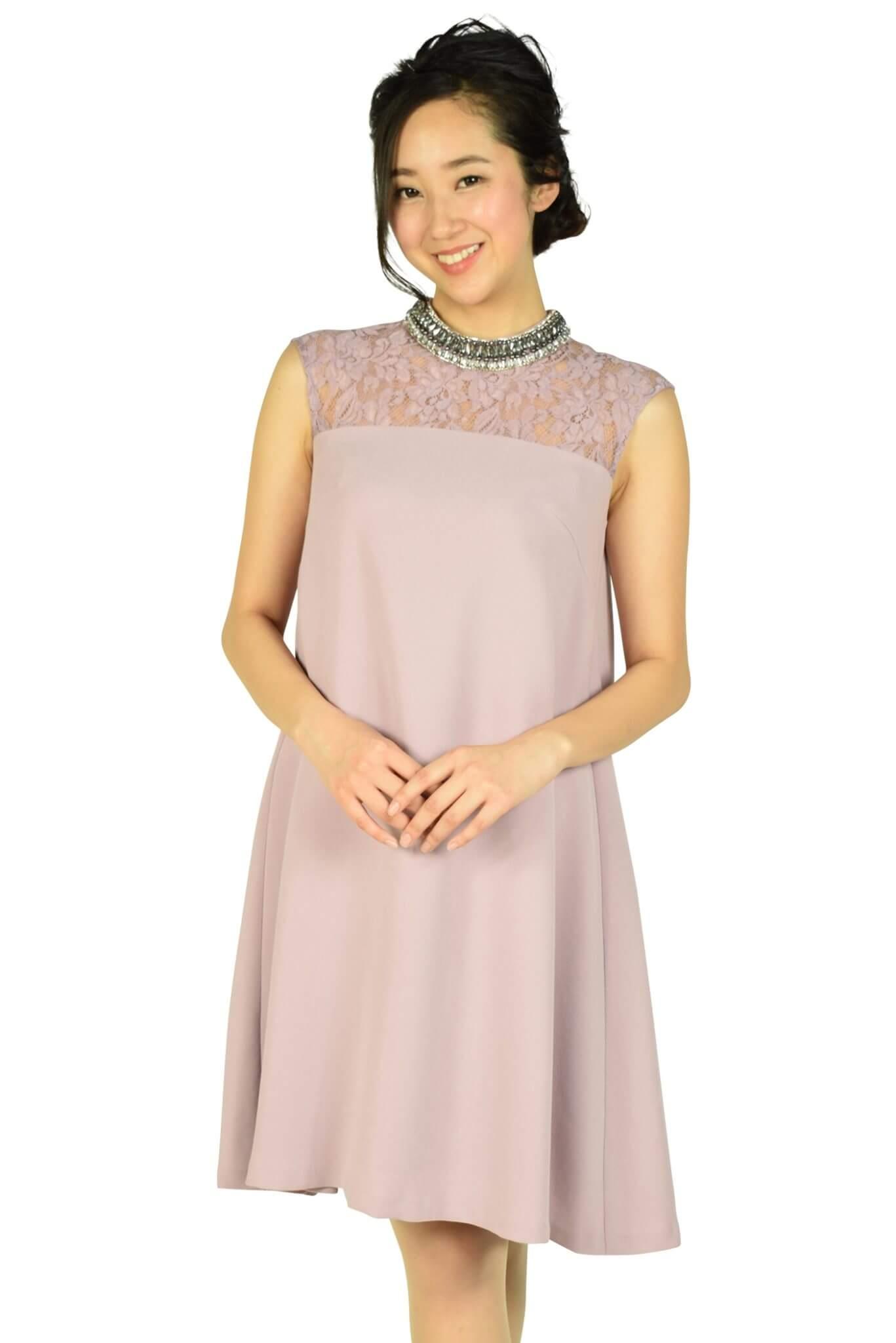 グレースコンチネンタル (GRACE CONTINENTAL)ネックビジュアッシュピンクドレス