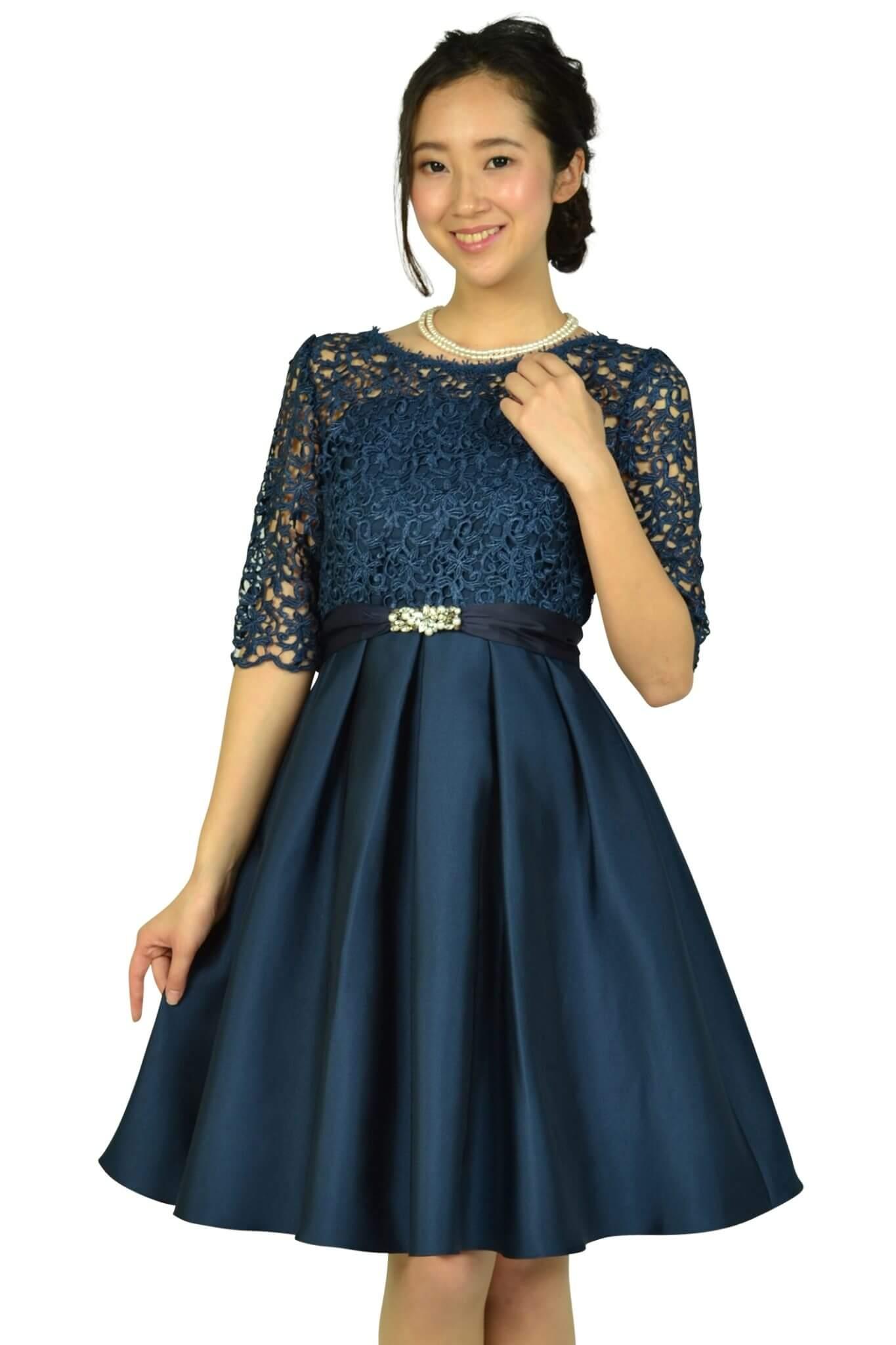 クチュールブローチ(Couture Brooch) フィットアンドフレアレースネイビードレス