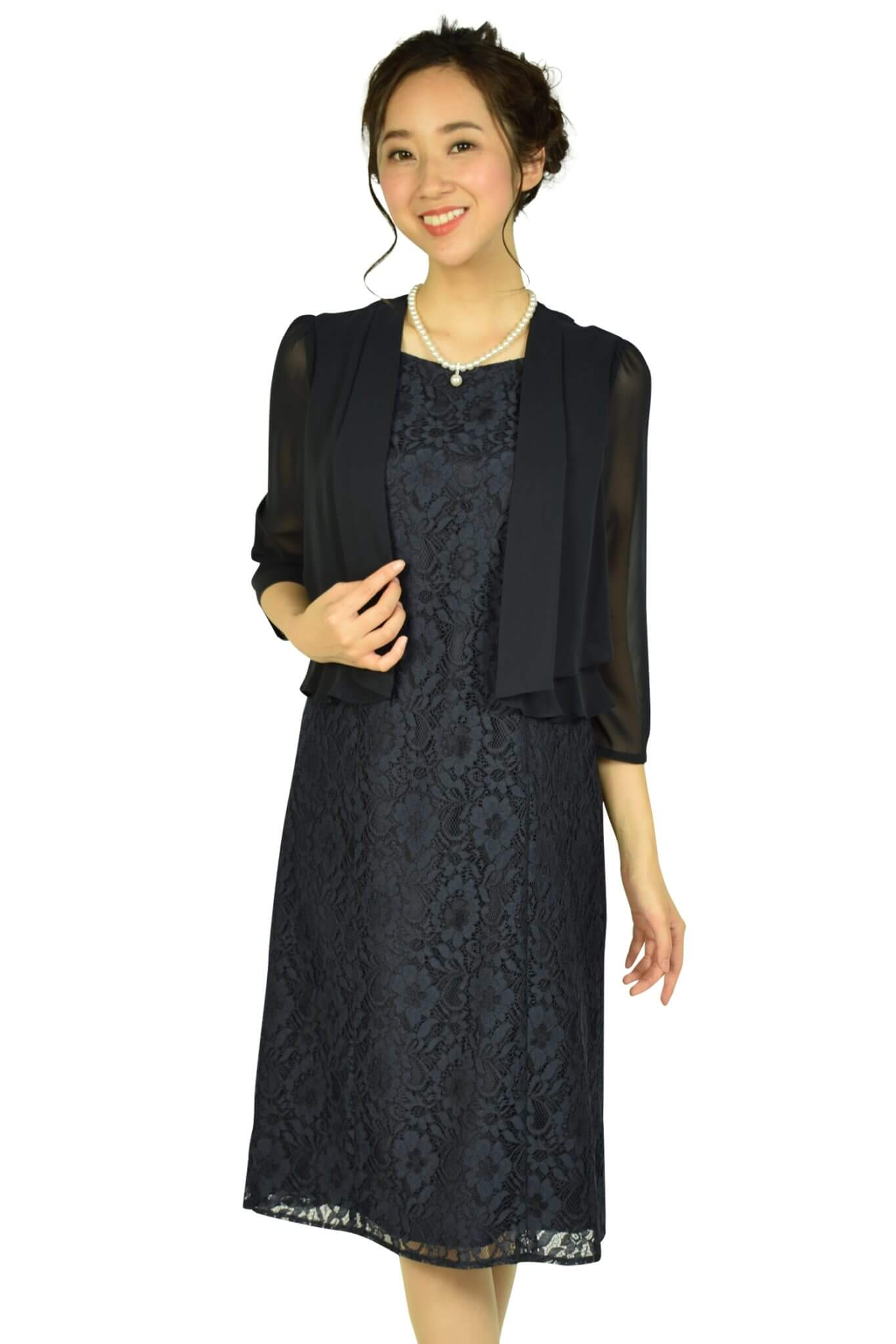 ドレス デコ (DRESS DECO)ジャケットドッキングネイビードレス