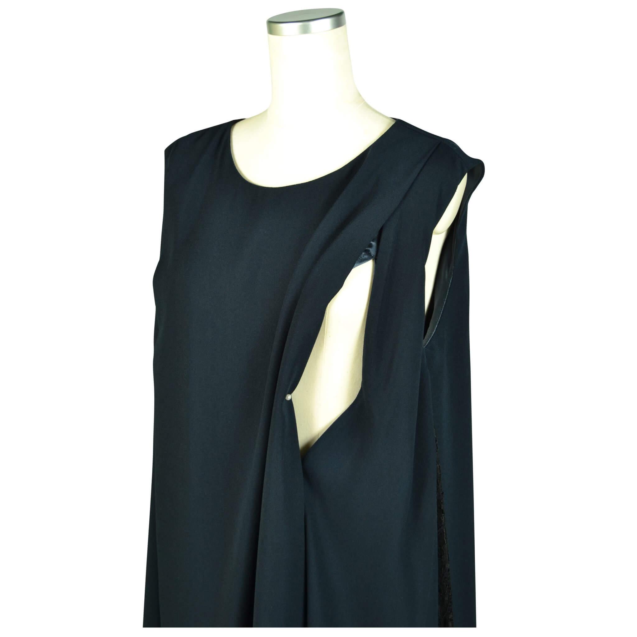 ビヲミナ 【授乳OK】ゆったりサイドレースネイビードレスセット
