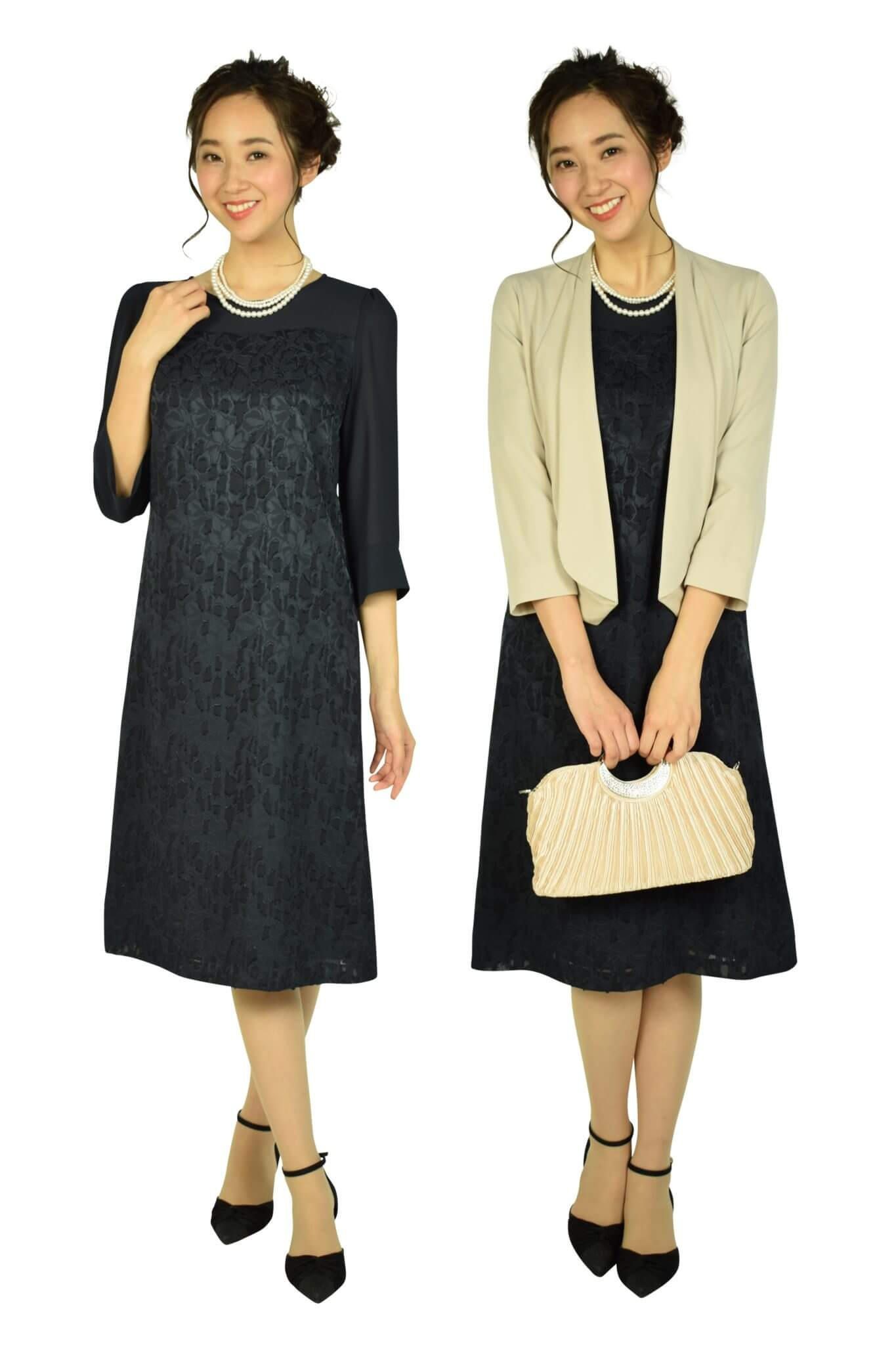 DRESS DECO上品フロッキーフラワーネイビードレス