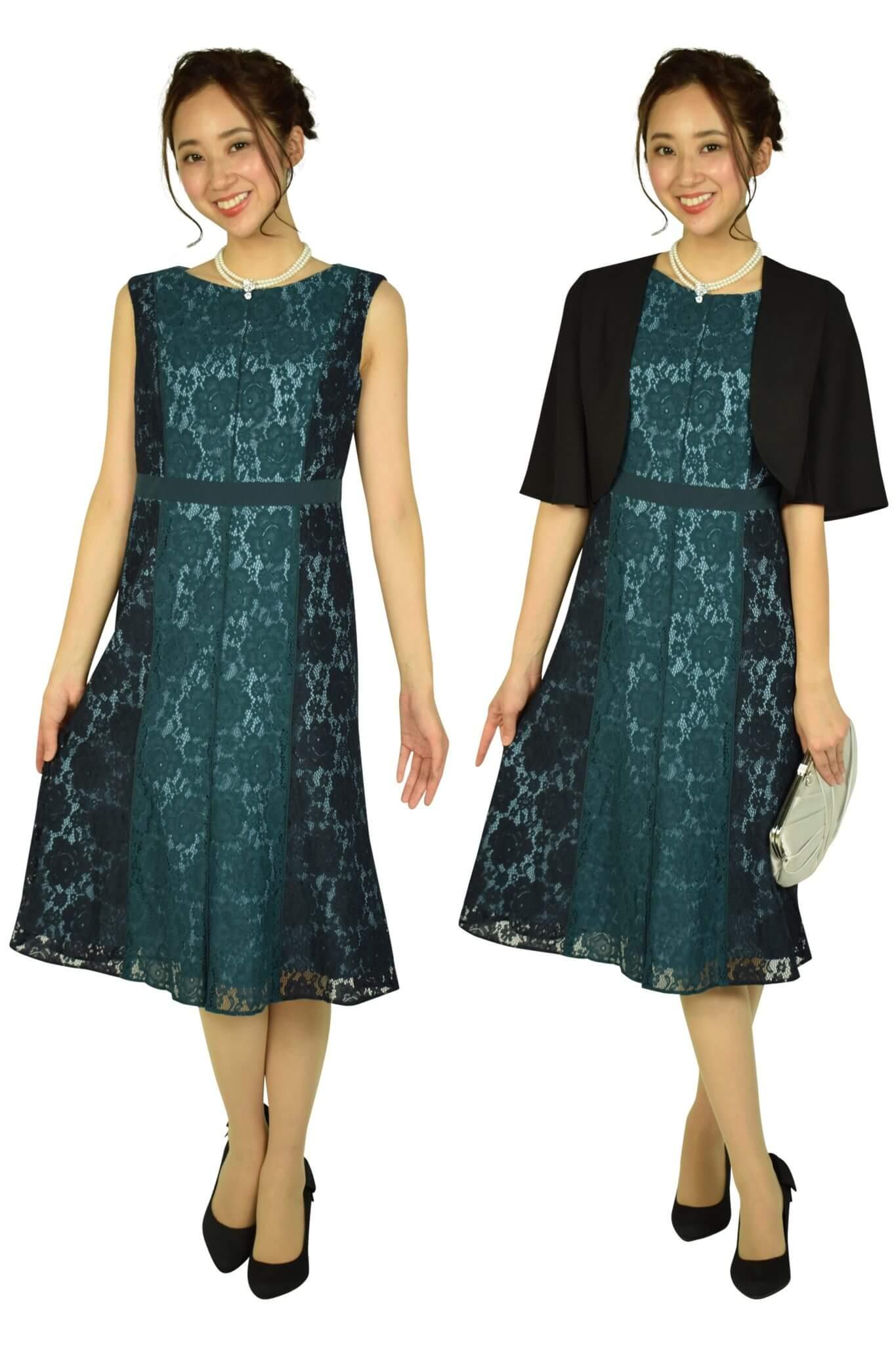 GRACE CONTINENTAL配色レースフレアグリーンドレス