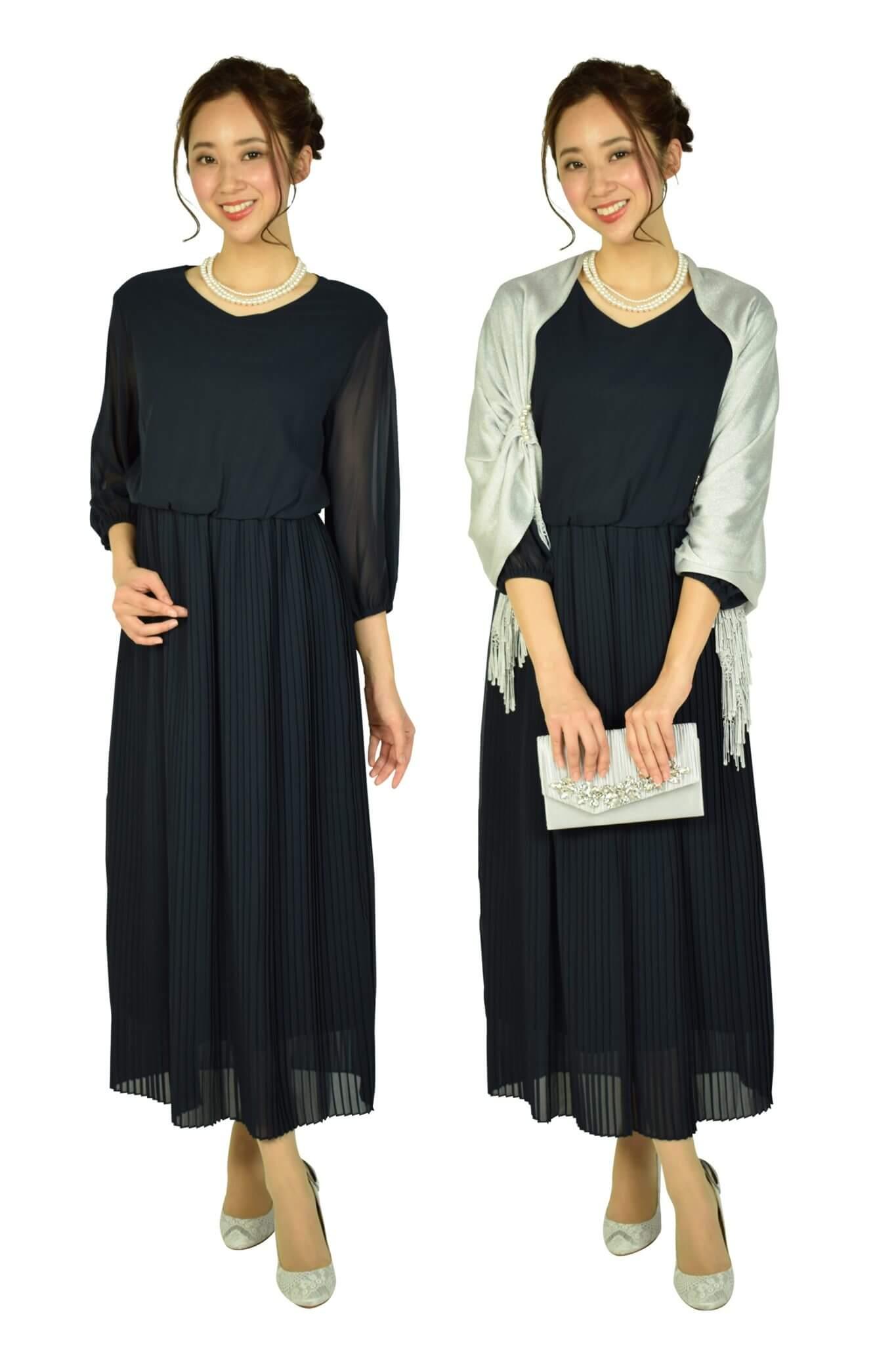 FeteROBEエアリー袖付きネイビードレス