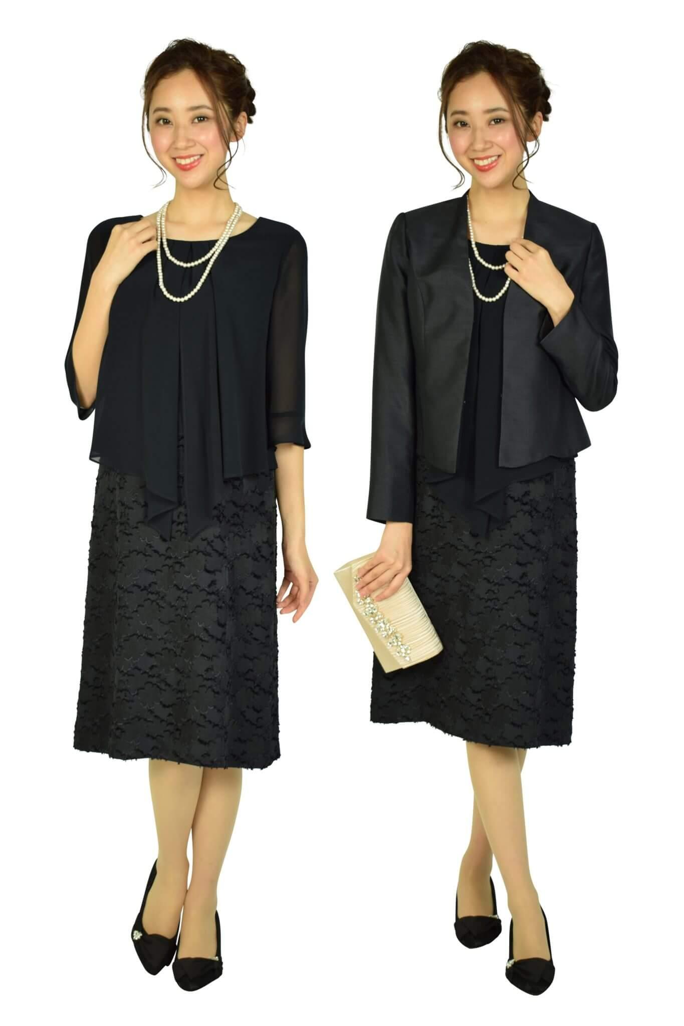 Apploberry 東京ソワールセットアップ風フラワーブラックドレス
